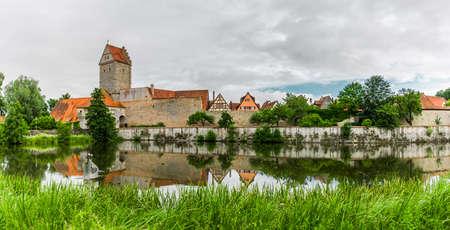Rothenburg Gate and pond of Dinkelsbühl in Bavaria
