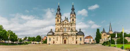 Cathedral square with cathedral in Fulda, Hesse Zdjęcie Seryjne