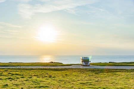 Motorhome on the coast with sea view in Scandinavia