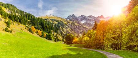 Einödsbach near Oberstdorf with view of the Allgäu High Alps
