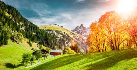 Einödsbach near Obersdorf with view of the Allgäu High Alps in Indian summer