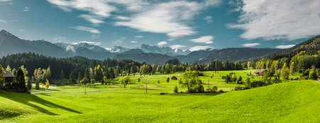 Landscape near Oberstdorf in Allgäu with view of Allgäu high alps Фото со стока