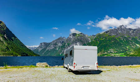 Motorhome standing on a fjord in Norway