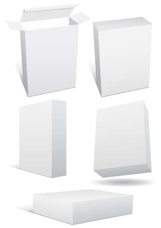 product box:   illustration set of a blank (retail) box in different 3D views.