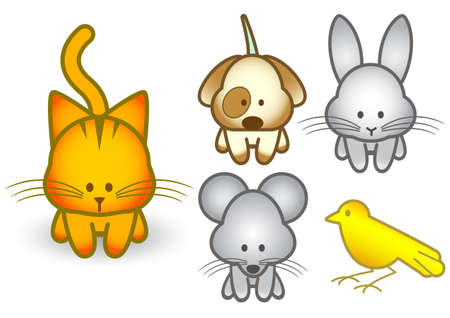 puppy and kitten:  illustration set of different pet animals.