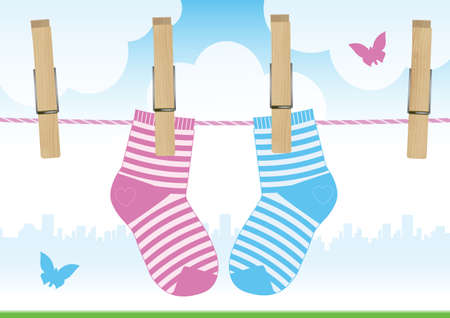 illustration of a clothesline with clothes pins and baby socks. Illustration