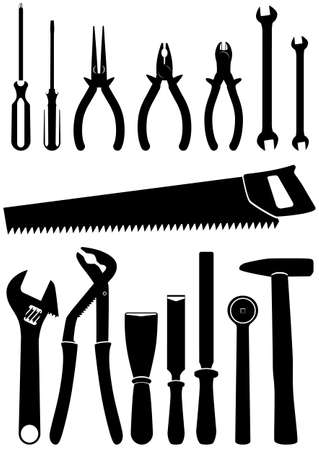 chisel:   illustration set of 15 different tools.