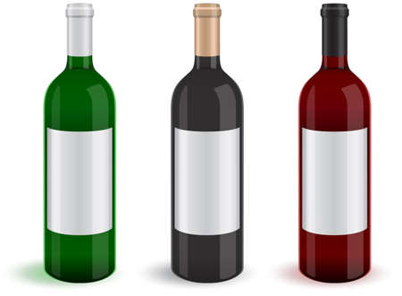 liquor:   illustration of three realistic wine bottles.