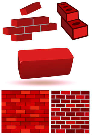 Brick and wall illustration set. Stock Vector - 8132852