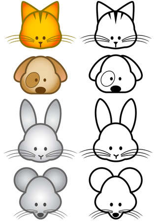 puppy and kitten: illustration set of cartoon pet animals.