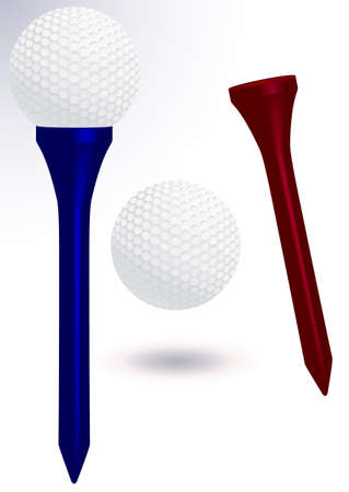 Golf ball and tee illustration.