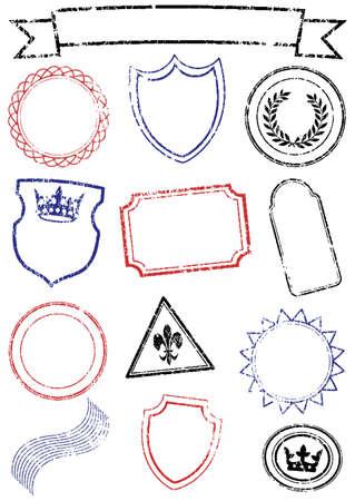 pasaporte: conjunto de diferente simulacro de sellos.  Vectores