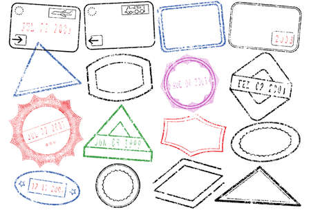 passaport: Passaporto o post set di illustrazione di timbro.