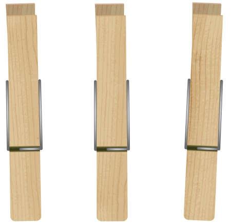 peg: illustration of three clothespins. Illustration