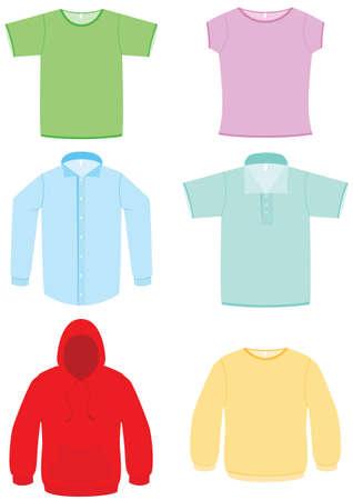 Clothing illustration set. Vector