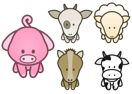 childishness: illustration set of cartoon farm animals.