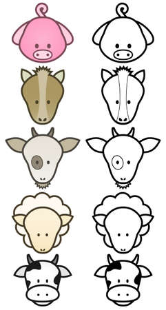 illustration set of cartoon farm animals.