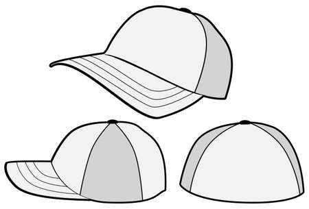 Baseball hat or cap template. Illustration