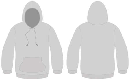 unprinted: Hooded sweater template illustration.
