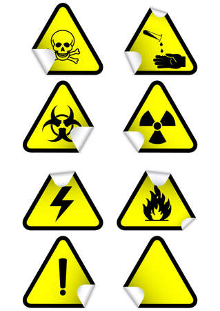 hazardous material: illustration set of different hazmat warning signs on peeled corners.