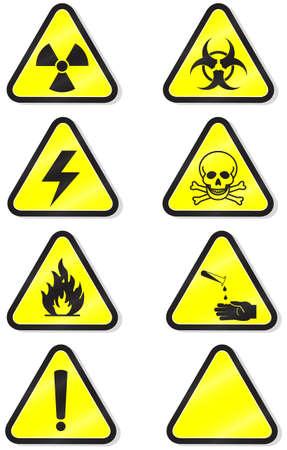 danger chimique:   illustration ensemble de diff�rents signes avant-coureurs de mati�res dangereuses.