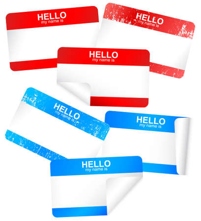 name tags:   set of blank adhesive hello my name is badges. Illustration