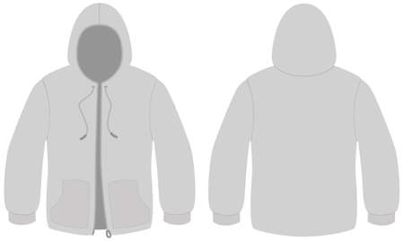 unprinted: Hooded sweater with zipper template illustration.