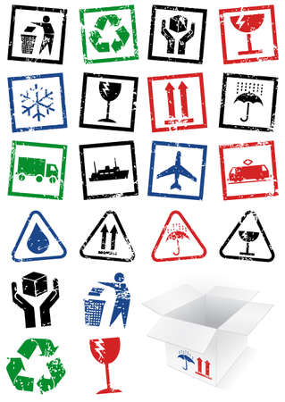illustration set of packing symbol stamps. Illustration