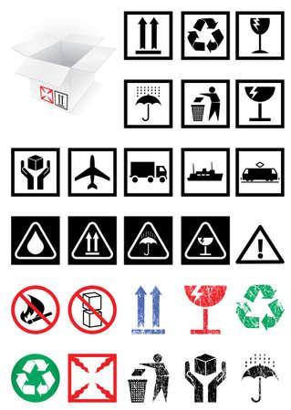 梱包シンボルおよびラベルのイラストのセット。