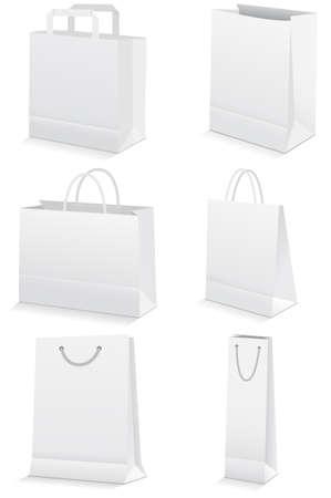 white paper bag: conjunto de ilustraci�n de bolsas de compras o comestibles de papel.