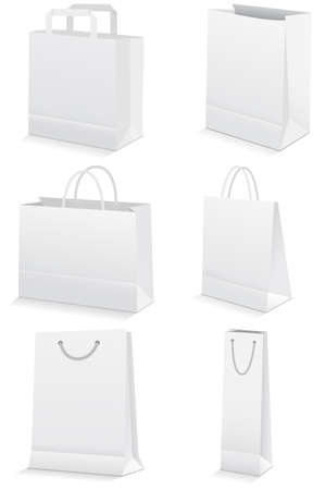 illustration set of paper shopping or grocery bags.