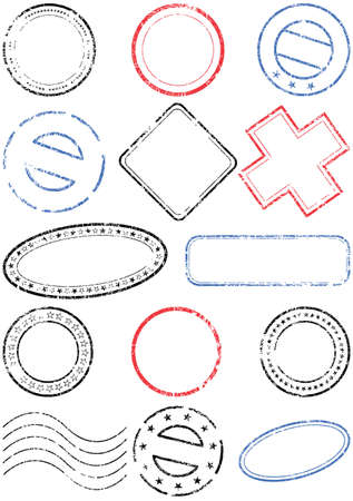timbre postal: Postmark conjunto de ilustración.