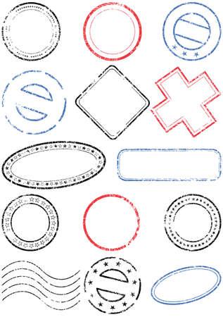 postmark: Poststempel Illustration-Set. Illustration