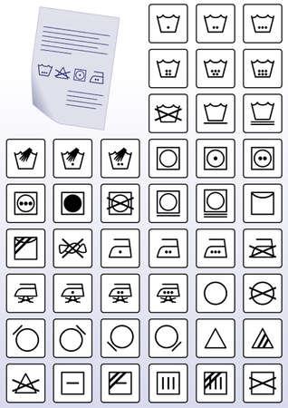 illustration set of clothing wash care instruction symbols. Stock Illustratie