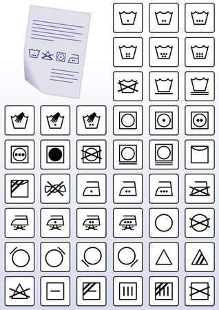 instrucciones: conjunto de ilustraci�n de s�mbolos de instrucci�n de atenci�n de lavado de ropa.
