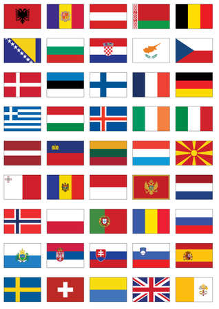 poland flag: Complete  set of flags from Europe. Illustration