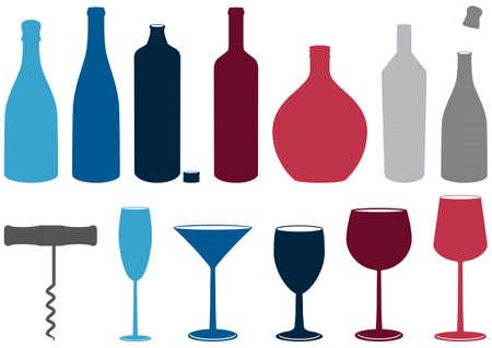 set di bottiglie di liquore, occhiali e cavatappi.