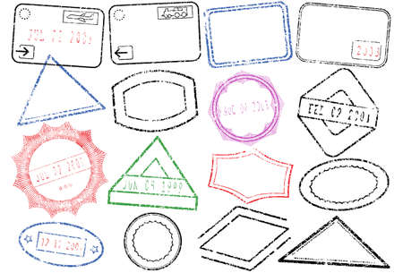 stempel reisepass: Eine Reihe von verschiedenen Reisepass oder Post Briefmarken.