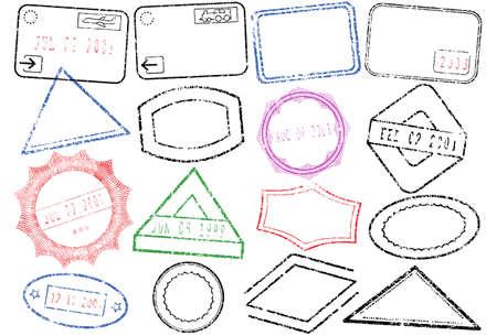 Un conjunto de diferentes sellos de pasaporte o post.  Ilustración de vector