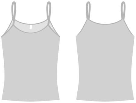 tank top: Ladies spaghetti top shirt template illustration. Illustration