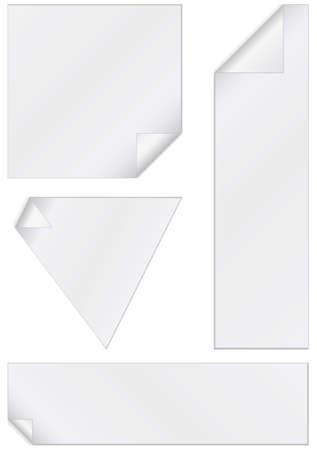 unprinted: Ilustraci�n conjunto de pegatinas en blanco con esquinas peladas.