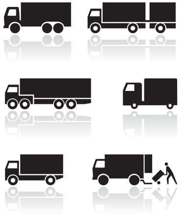 lorry: Camion o van set di simboli.  Vettoriali