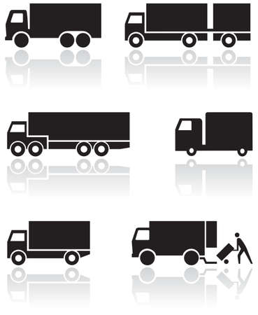 ciężarówka: Ciężarówka lub van zestawu symboli. Ilustracja
