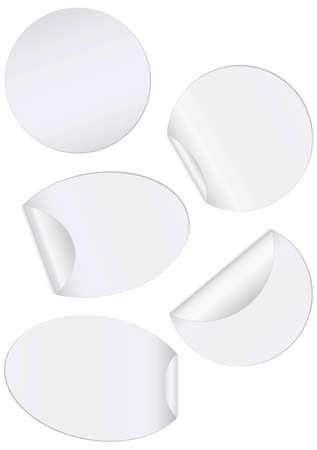 unprinted: conjunto de ilustraci�n de pegatinas ronda con borde pelada.