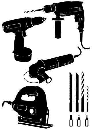 drill:   illustration set of 4 different power tools.