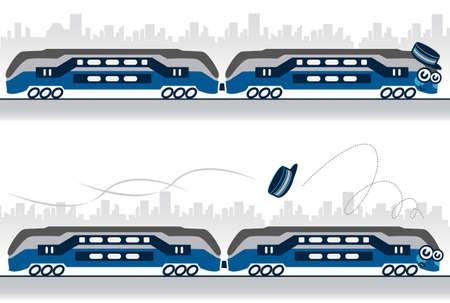 karakter illustratie van een trein verliezen zijn hoed.