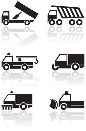 spazzatrice: Camion o van set di simboli.  Vettoriali