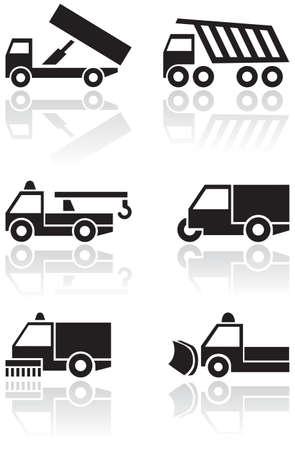 tipper: Truck or van symbol  set.
