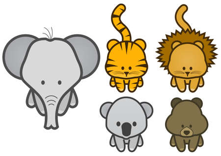 illustration set of different cartoon wild or zoo animals. Vector