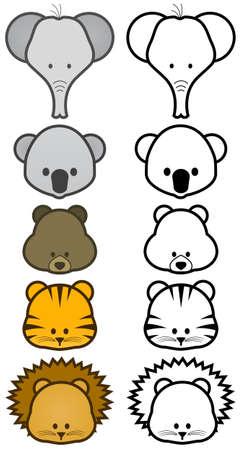 illustration set of cartoon wild or zoo animals. Vector